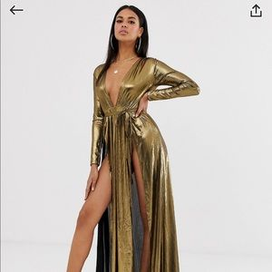 ASOS design metallic plunge beach maxi dress